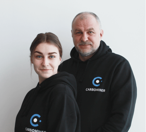 Nick and Vika Oseyko, founders of Carbominer